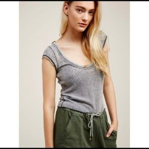 Free People | Arthur Waffle Knit Gray Thermal Tee